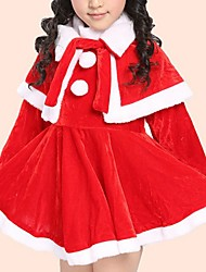 cheap -Girl's Daily Solid Dress, Cotton Winter Long Sleeves Casual Red