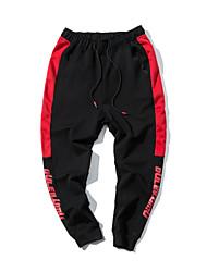 economico -pantaloni della tuta chino micro-elastico normale da uomo, pantaloni, semplice lettera in poliestere / cotone primavera / autunno