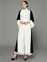 cheap -Women's Casual Sophisticated Flare Sleeve Loose Swing Abaya Dress - Color Block, Beaded Cut Out Patchwork
