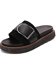 cheap -Women's Shoes PU Leatherette Summer Comfort Sandals Flat Heel Open Toe Buckle for Casual Outdoor White Black Black/White