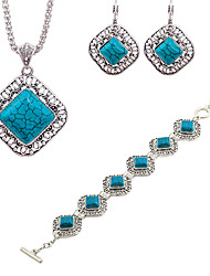 cheap -Women's Turquoise Jewelry Set 1 Necklace / 1 Bracelet / Earrings - Sexy / Fashion Geometric Blue Jewelry Set For Evening Party / Bar