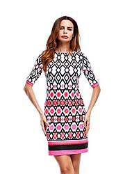 baratos -Mulheres Bainha Vestido - Básico, Estampa Colorida Xadrez