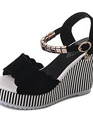 cheap -Women's Shoes Nubuck leather Summer Comfort Sandals Wedge Heel Round Toe Rhinestone Black / Almond / Wedge Heels