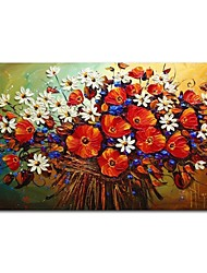cheap -STYLEDECOR Modern Hand Painted Abstract Colorful Flowers Oil Painting on Canvas for Living Room-60*90cm