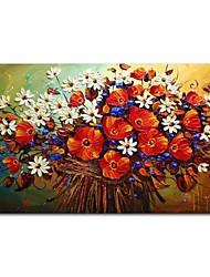 economico -Hang-Dipinto ad olio Dipinta a mano - Astratto Floreale / Botanical Contemporaneo Modern Tela