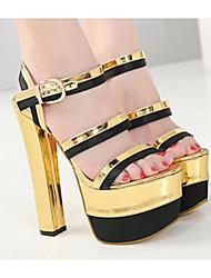 preiswerte -Damen Schuhe PU Frühling / Sommer Pumps / Komfort Sandalen Blockabsatz für Gold