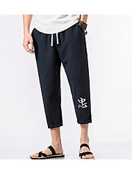 economico -pantaloni chino micro elasticizzati da uomo di media altezza, vintage lettera primavera estate in cotone