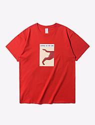 cheap -Men's Cotton T-shirt - Letter Round Neck
