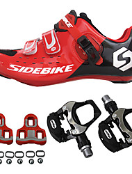 cheap -SIDEBIKE Men's Bike Cycling Shoes With Pedals & Cleats Nylon and Carbon Fiber Cushioning, Ultra Light (UL) PU Cycling / Bike Red / black
