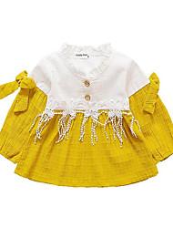 Недорогие -Девочки Простой Контрастных цветов Длинный рукав Платье