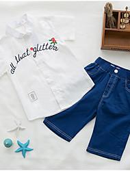cheap -Boys' Daily Geometric Clothing Set, Polyester Spring Summer Short Sleeves Simple White Orange Blushing Pink