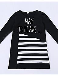 abordables -Robe Fille de Quotidien Rayé Polyester Printemps Eté Manches 3/4 Mignon Actif Blanc Noir Gris Clair