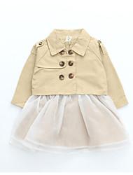 abordables -Robe Fille de Quotidien Vacances Couleur Pleine Coton Polyester Spandex Printemps Eté Manches Longues simple Actif Kaki