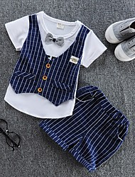 cheap -Boys' Daily Striped Clothing Set, Cotton Summer Short Sleeves Casual Red Navy Blue
