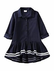abordables -Robe Fille de Quotidien Couleur Pleine Coton Printemps Manches 3/4 simple Bleu