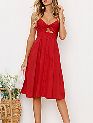 cheap -Women's Sheath Dress - Solid Color, Backless Bow V Neck Strap