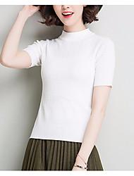 preiswerte -Damen Kurzarm Pullover-Volltonfarbe Rundhalsausschnitt