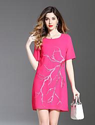 Недорогие -Жен. На каждый день А-силуэт Платье - Цветочный принт, Вышивка Выше колена