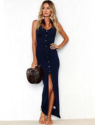 cheap -Women's Beach Holiday Slim Bodycon Dress - Solid Colored Split Maxi Strap