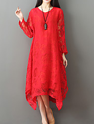 cheap -Women's Holiday Basic / Boho Loose Loose Dress - Solid Colored Red Asymmetrical