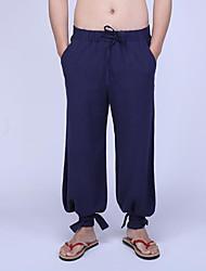 economico -pantaloni a gamba larga elasticizzati normali da uomo di media altezza, semplici in lino solido primavera / autunno estate