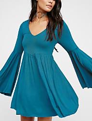 Недорогие -Жен. Большие размеры Вспышка рукава Свободный силуэт Платье - Однотонный, С принтом Глубокий V-образный вырез До колена
