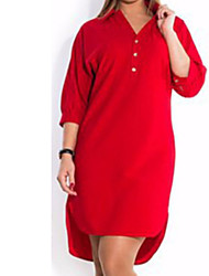 cheap -Women's Plus Size Basic Cotton Slim Shirt Dress - Solid Colored Red V Neck / Shirt Collar / Spring / Summer