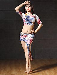 abordables -Danza del Vientre Accesorios Mujer Rendimiento Licra Diseño / Estampado Fruncido Media Manga Cintura Baja Faldas Top