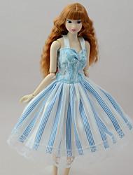 cheap -Dresses Dresses For Barbie Doll Light Blue Poly/Cotton Linen/Polyester Blend Dress For Girl's Doll Toy