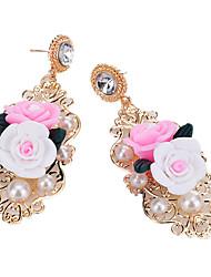 baratos -Mulheres Brincos Compridos - Imitação de Pérola, Resina Florais / Botânicos, Flor Fashion Dourado Para Festa / Para Noite
