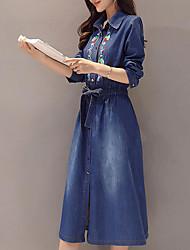 abordables -Femme Grandes Tailles Manche Gigot Toile de jean Robe - Basique, Couleur Pleine Col de Chemise