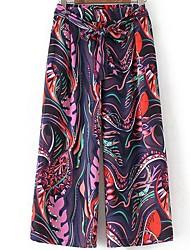 economico -pantaloni chino micro elasticizzati da donna di media altezza, semplice molla in poliestere geometrica