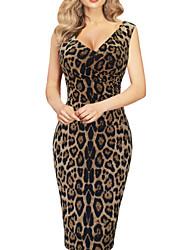 baratos -Mulheres Skinny Tubinho Vestido - Básico, Leopardo Decote V Médio