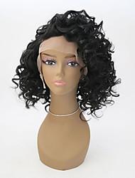 economico -Capelli sintetici Parrucche Riccio Attaccatura dei capelli naturale Lace frontale Parrucca naturale Corto Nero