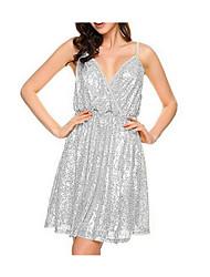 女性用 Aライン ドレス - バックレス スパンコール, ソリッド