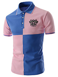 cheap -Men's Work Street chic Cotton Slim Polo - Color Block Patchwork Shirt Collar