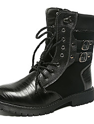 cheap -Men's Shoes Patent Leather Winter Fall Combat Boots Motorcycle Boots Boots Booties/Ankle Boots for Casual Party & Evening Black