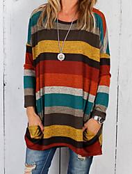 billige -Dame - Stribet Basale Farveblok T-shirt