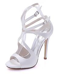 Mulheres Sapatos Cetim Primavera Verão Plataforma Básica Sandálias Salto Agulha Dedo Aberto Presilha para Casamento Festas & Noite Azul
