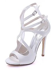 Žene Cipele Saten Proljeće Ljeto Obične salonke Sandale Stiletto potpetica Otvoreno toe Kopča za Vjenčanje Zabava i večer Dark Blue