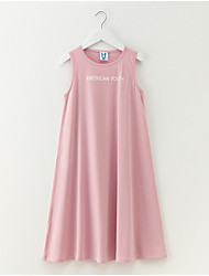 cheap -Girl's Daily Holiday Solid Dress, Cotton Spandex Spring Summer Sleeveless Simple Active Blue Blushing Pink Gray