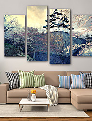 cheap -Stretched Canvas Prints Modern, Four Panels Canvas Vertical Print Wall Decor Home Decoration