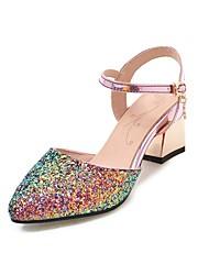 Mujer Zapatos Goma / EVA Verano Tira en T Sandalias Paseo Talón de bloque Mitad de Gemelo Remache Negro / Beige / Rojo 5pM4fPF