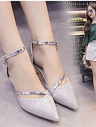 preiswerte -Damen Schuhe Leinen PU Sommer Pumps High Heels Walking Block Ferse Quadratischer Zeh Perle Schnalle für Kleid Party & Festivität Gold