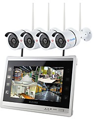 cheap -YanSe Security System Wireless NVR Kit 12.5 inch Screen 4pcs IP Camera 960P Waterproof IR Night Vision