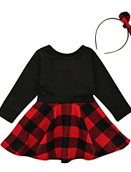 cheap -Girl's Going out School Solid Check Patchwork Dress, Cotton Spring Summer Long Sleeves Simple Vintage Black