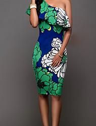 cheap -Women's Boho Flare Sleeve Bodycon Dress - Plants, Backless Print High Waist One Shoulder