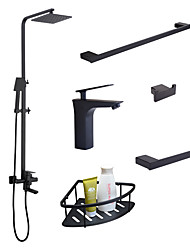 cheap -Contemporary Wall Installation Rain Shower Handshower Included Widespread Ceramic Valve Single Handle One Hole Black, Faucet Set