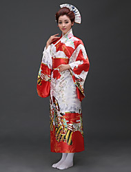 cheap -Cosplay Dress Japanese Traditional Kimono Women's Festival / Holiday Halloween Costumes Blue Pink Red Person Traditional/Classic Kimonos