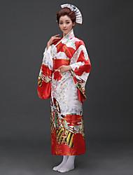 abordables -Cosplay Robes Kimono Femme Fête / Célébration Déguisement d'Halloween Bleu Rose Rouge Personne Traditionnel/Classique Kimonos